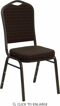 HERCULES Series Crown Back Stacking Banquet Chair with Brown Patterned Fabric and 2.5'' Thick Seat - Gold Vein Frame [NG-C01-BROWN-GV-GG]