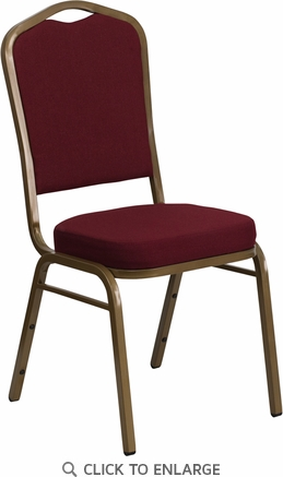HERCULES Series Crown Back Stacking Banquet Chair with Burgundy Fabric and 2.5'' Thick Seat - Gold Frame [FD-C01-ALLGOLD-3169-GG]