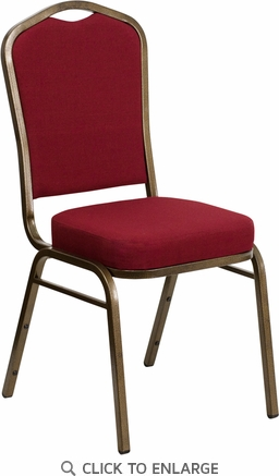 HERCULES Series Crown Back Stacking Banquet Chair with Burgundy Fabric and 2.5'' Thick Seat - Gold Vein Frame [FD-C01-GOLDVEIN-3169-GG]