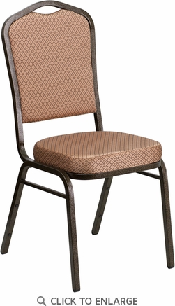 HERCULES Series Crown Back Stacking Banquet Chair with Gold Diamond Patterned Fabric and 2.5'' Thick Seat - Gold Vein Frame [FD-C01-GOLDVEIN-GO-GG]