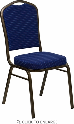HERCULES Series Crown Back Stacking Banquet Chair with Navy Blue Patterned Fabric and 2.5'' Thick Seat - Gold Vein Frame [FD-C01-GOLDVEIN-208-GG]