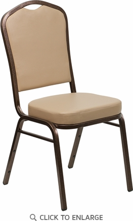 HERCULES Series Crown Back Stacking Banquet Chair with Tan Vinyl and 2.5'' Thick Seat - Copper Vein Frame [FD-C01-COPPER-TN-VY-GG]