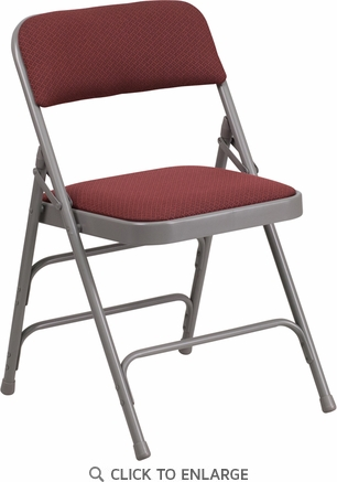 HERCULES Series Curved Triple Braced & Double Hinged Burgundy Patterned Fabric Upholstered Metal Folding Chair [AW-MC309AF-BG-GG]