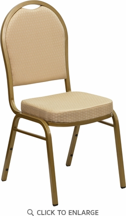 HERCULES Series Dome Back Stacking Banquet Chair with Beige Patterned Fabric and 2.5'' Thick Seat - Gold Frame [FD-C03-ALLGOLD-H20124E-GG]