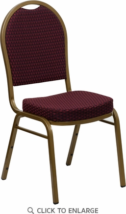 HERCULES Series Dome Back Stacking Banquet Chair with Burgundy Patterned Fabric and 2.5'' Thick Seat - Gold Frame [FD-C03-ALLGOLD-EFE1679-GG]