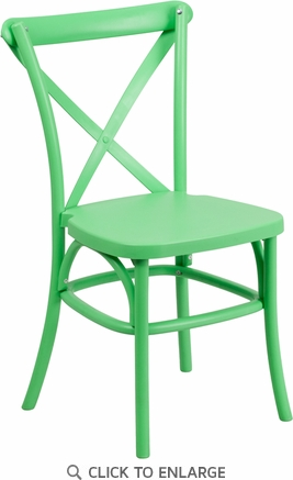 HERCULES Series Green Resin Indoor-Outdoor Cross Back Chair with Steel Inner Leg [LE-9-GN-GG]