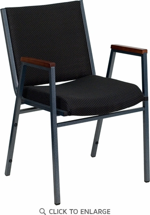HERCULES Series Heavy Duty, 3'' Thickly Padded, Black Patterned Upholstered Stack Chair with Arms and Ganging Bracket [XU-60154-BK-GG]