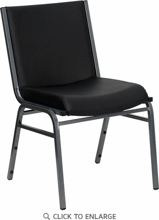 HERCULES Series Heavy Duty, 3'' Thickly Padded, Black Vinyl Upholstered Stack Chair with Ganging Bracket [XU-60153-BK-VYL-GG]