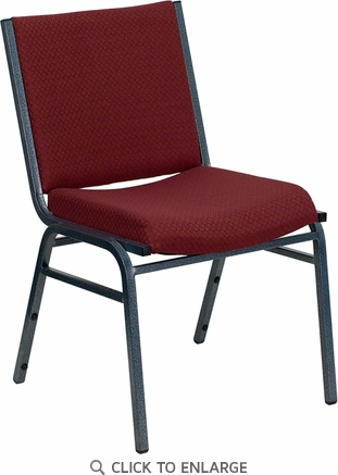 HERCULES Series Heavy Duty, 3'' Thickly Padded, Burgundy Patterned Upholstered Stack Chair with Ganging Bracket [XU-60153-BY-GG]