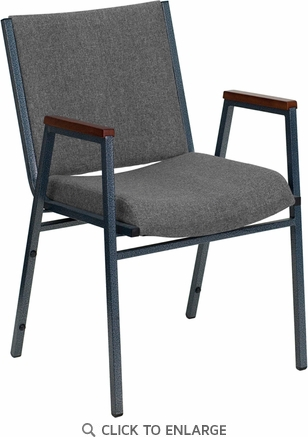 HERCULES Series Heavy Duty, 3'' Thickly Padded, Gray Upholstered Stack Chair with Arms and Ganging Bracket [XU-60154-GY-GG]
