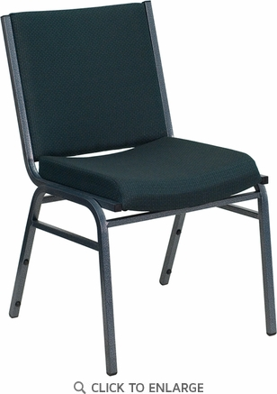 HERCULES Series Heavy Duty, 3'' Thickly Padded, Green Patterned Upholstered Stack Chair with Ganging Bracket [XU-60153-GN-GG]