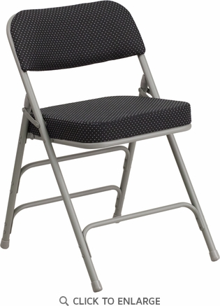 HERCULES Series Premium Curved Triple Braced & Double Hinged Black Pin-Dot Fabric Upholstered Metal Folding Chair [AW-MC320AF-BK-GG]
