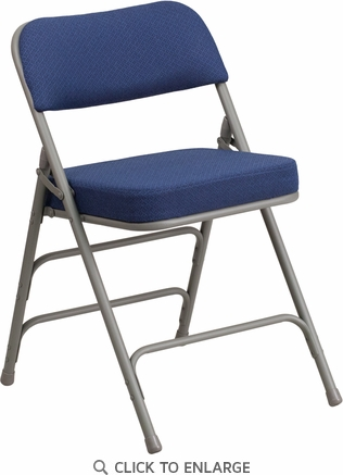 HERCULES Series Premium Curved Triple Braced & Double Hinged Navy Fabric Upholstered Metal Folding Chair [AW-MC320AF-NVY-GG]