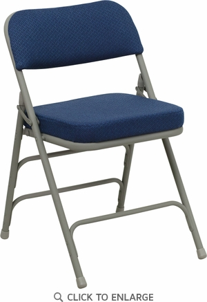 HERCULES Series Premium Curved Triple Braced & Double Hinged Navy Fabric Upholstered Metal Folding Chair [HA-MC320AF-NVY-GG]