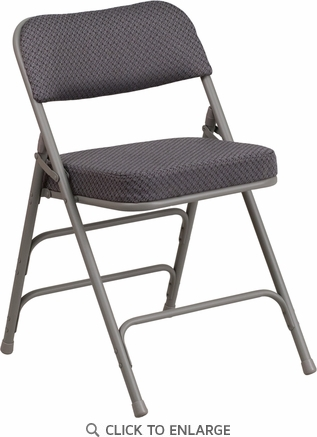 HERCULES Series Premium Curved Triple Braced & Quad Hinged Gray Fabric Upholstered Metal Folding Chair [AW-MC320AF-GRY-GG]
