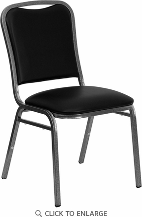 HERCULES Series Stacking Banquet Chair with Black Vinyl and 1.5'' Thick Seat - Silver Vein Frame [NG-108-SV-BK-VYL-GG]