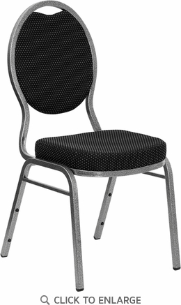 HERCULES Series Teardrop Back Stacking Banquet Chair with Black Patterned Fabric and 2.5'' Thick Seat - Silver Vein Frame [FD-C04-SILVERVEIN-S076-GG]