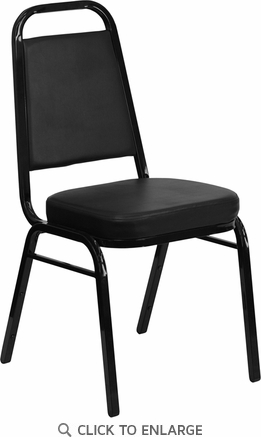 HERCULES Series Trapezoidal Back Stacking Banquet Chair with Black Vinyl and 2.5'' Thick Seat - Black Frame [FD-BHF-1-GG]