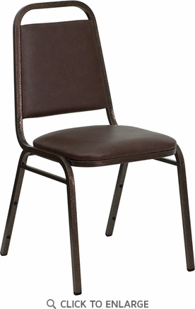 HERCULES Series Trapezoidal Back Stacking Banquet Chair with Brown Vinyl and 1.5'' Thick Seat - Copper Vein Frame [FD-BHF-2-BN-GG]