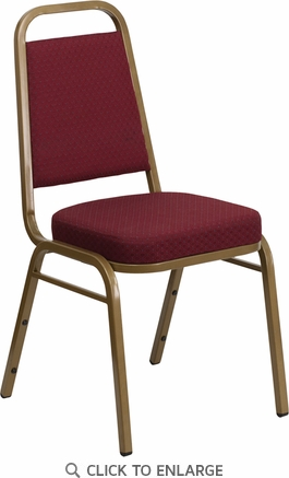 HERCULES Series Trapezoidal Back Stacking Banquet Chair with Burgundy Patterned Fabric and 2.5'' Thick Seat - Gold Frame [FD-BHF-1-ALLGOLD-0847-BY-GG]