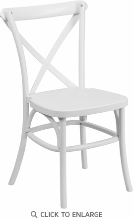 HERCULES Series White Resin Indoor-Outdoor Cross Back Chair with Steel Inner Leg [LE-9-WH-GG]