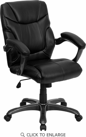 High Back Black Leather Contemporary Office Chair [GO-725-BK-LEA-GG]