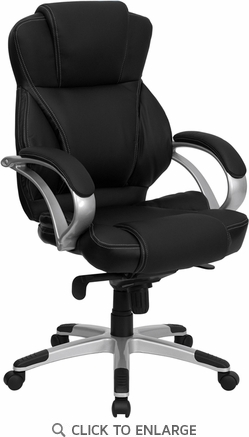 High Back Black Leather Contemporary Office Chair [H-9626L-2-GG]