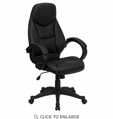 High Back Black Leather Contemporary Office Chair [H-HLC-0005-HIGH-1B-GG]