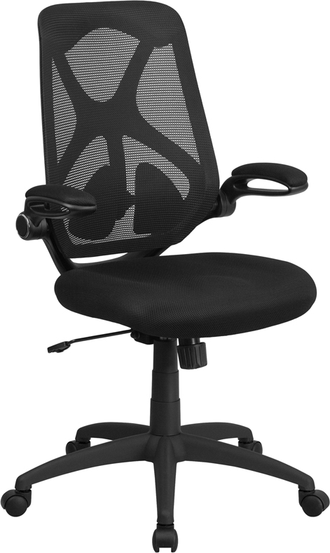 High Back Black Mesh Executive Swivel Office Chair with Mesh Padded Seat, Adjustable Lumbar, 2-Paddle Control and Flip-Up Arms [HL-0013-GG]