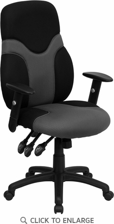 High Back Ergonomic Black & Gray Mesh Office Task Chair with Adjustable Arms [BT-6001-GYBK-GG]