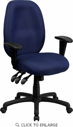 High Back Navy Fabric Multi-Functional Ergonomic Office Task Chair with Arms [BT-6191H-NY-GG]