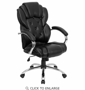 High Back Transitional Style Black Leather Executive Office Chair [GO-908A-BK-GG]