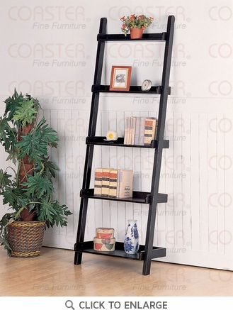 Leaning 5 Tier Shelf Bookcase in a Black Finish by Coaster - 5049