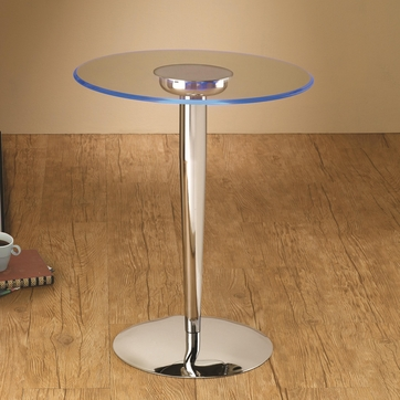 LED Accent Side Table with Chrome Base and Glass Top by Coaster 701494