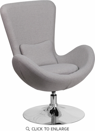 Light Gray Fabric Egg Series Reception-Lounge-Side Chair [CH-162430-LTGY-FAB-GG]