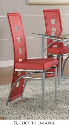 Los Feliz Red Metal Dining Chairs by Coaster 101683- Set of 2