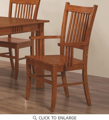 Medium Brown Oak Finish Mission Arm Dining Chairs by Coaster 100623 - Set of 2
