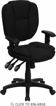Mid-Back Black Fabric Multi-Functional Ergonomic Task Chair with Arms [GO-930F-BK-ARMS-GG]