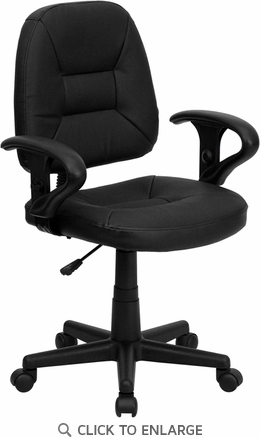 Mid-Back Black Leather Ergonomic Task Chair with Arms [BT-682-BK-GG]