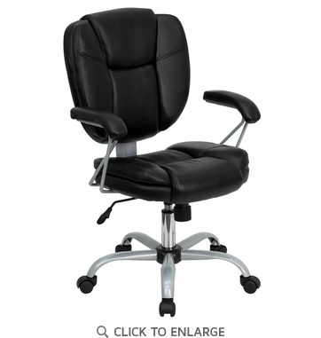 Mid-Back Black Leather Task and Computer Chair [GO-930-BK-GG]