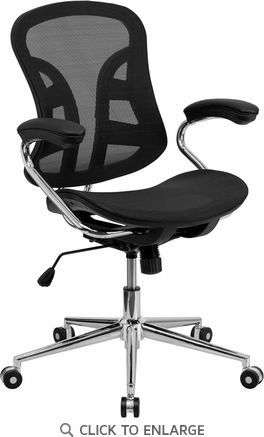 Mid-Back Black Mesh Computer Office Chair with Chrome Base [BT-2779-GG]