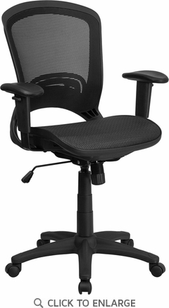 Mid-Back Black Mesh Executive Swivel Office Chair with Height Adjustable Arms [HL-0007T-GG]