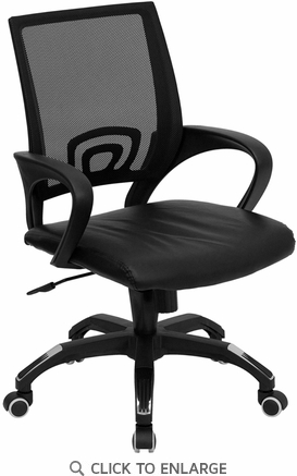 Mid-Back Black Mesh Office Chair with Black Leather Seat [CP-B176A01-BLACK-GG]