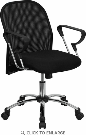 Mid-Back Black Mesh Office Chair with Chrome Base [BT-215-GG]