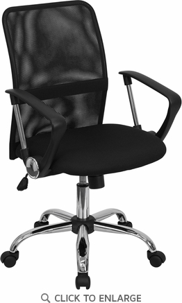 Mid-Back Black Mesh Office Chair with Chrome Finished Base [GO-6057-GG]