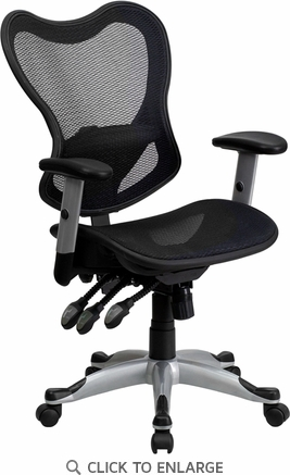 Mid-Back Black Mesh Office Chair with Triple Paddle Control [GO-WY-55-GG]