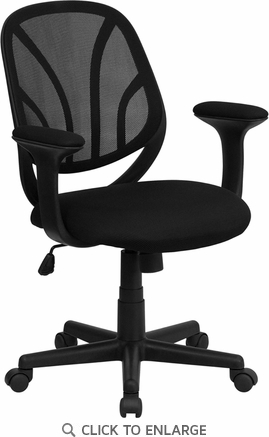 Mid-Back Black Mesh Office Task Chair with Arms [GO-WY-05-A-GG]