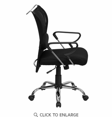 Mid-Back Black Office Chair with Mesh Back and Padded Mesh Seat [BT-2905-GG]