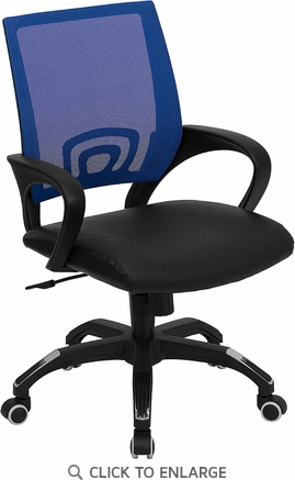Mid-Back Blue Mesh Office Chair with Black Leather Seat [CP-B176A01-BLUE-GG]