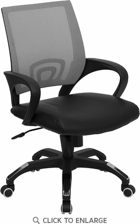 Mid-Back Gray Mesh Office Chair with Black Leather Seat [CP-B176A01-GRAY-GG]